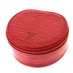 Auth LOUIS VUITTON Ecrin Bijou 8 Jewelry Case Pouch Epi Leather Red